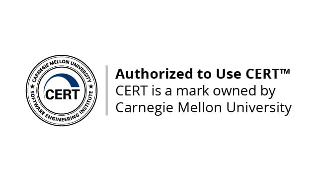 This image depicts how AlgoCERT is using the CERT mark on its website.